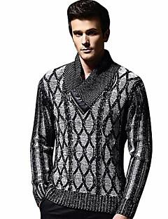 tanie Męskie swetry i swetry rozpinane-Męskie Podstawowy Golf Pulower Geometryczny Długi rękaw