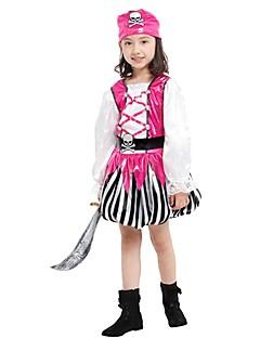 billige Halloweenkostymer-Pirat Drakter Jente Halloween / Karneval / Barnas Dag Festival / høytid Halloween-kostymer Rosa Ensfarget / Stripet / Halloween Halloween
