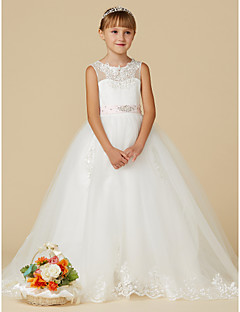 cheap Kids Attire-Princess Sweep / Brush Train Flower Girl Dress - Lace / Tulle Sleeveless Jewel Neck with Beading / Appliques / Belt by LAN TING BRIDE®