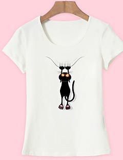 billige Kvinde Toppe-Dame - Dyr Trykt mønster Basale T-shirt Kat