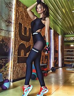 billiga Träning-, jogging- och yogakläder-Dam Rund hals Öppen Rygg Jumpsuit - Svart sporter Bokstav Mesh Kompressionskläder Löpning, Gym, Träna Ärmlös Sportkläder Fuktabsorberande, Snabb tork, Andningsfunktion Microelastisk