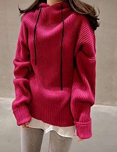baratos Suéteres de Mulher-Mulheres Para Noite Manga Longa Pulôver - Sólido / Com Capuz