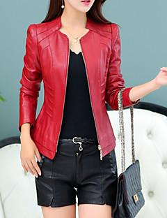 Χαμηλού Κόστους Women's Leather & Faux Leather Jackets-γυναικείο μπουφάν δέρματος pu - συμπαγές χρώμα