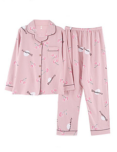baratos Pijamas Femininos-Mulheres Colarinho de Camisa Conjunto Pijamas Floral