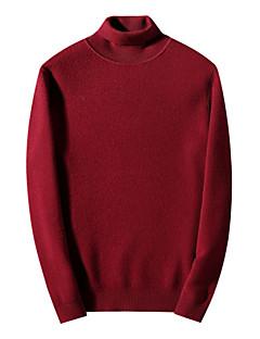 baratos Suéteres & Cardigans Masculinos-Homens Manga Longa Lã Pulôver - Sólido Lã / Gola Alta