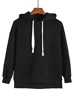 baratos Moletons com Capuz e Sem Capuz Femininos-hoodie de algodão de manga comprida para mulher - capuz de cor sólida