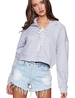 tanie Damskie bluzy z kapturem-Damskie Aktywny Bluza z Kapturem - Jendolity kolor, Plisy