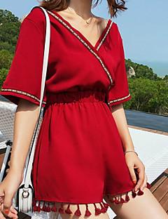 tanie Kombinezony damskie-Damskie Codzienny W serek Czerwony Spodnie szerokie nogawki Jednoczęściowe, Solidne kolory Jeden rozmiar Krótki rękaw