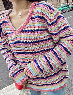 tanie Swetry damskie-damski sweter z długim rękawem - tęczowy / prążkowany dekolt