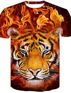 2e82723cef2 Men s Club Street chic   Punk   Gothic Plus Size T-shirt - Color Block    Animal Tiger
