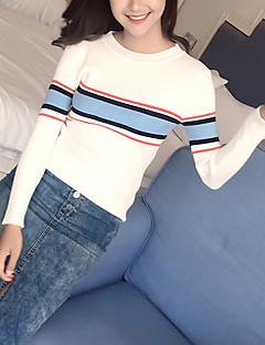 baratos Suéteres de Mulher-pullover de manga longa feminina - decote redondo listrado