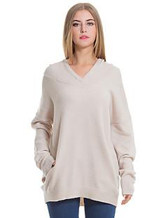 baratos Suéteres de Mulher-Mulheres Manga Longa Algodão Pulôver - Sólido Algodão / Com Capuz