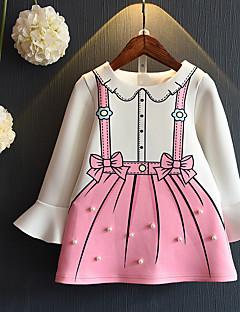 baratos Vestidos de Renda para Meninas-Infantil Para Meninas Vintage Sólido Manga Longa Vestido Branco