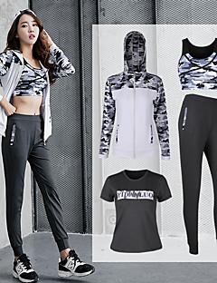 billiga Träning-, jogging- och yogakläder-Dam Ficka Yoga Suit - Vit, Svart sporter Tryck T-shirt / Huvtröja / Byxa Dans, Löpning, Fitness Sportkläder Andningsfunktion, Snabb tork, Svettavvisande Elastisk Plusstorlekar