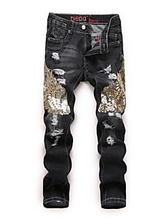 billige Herrebukser og -shorts-Herre Punk & Gotisk / overdrevet Jeans Bukser Fargeblokk BLå & Hvit / Svart og hvit