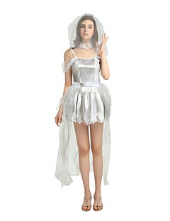 billige Halloweenkostymer-Trollmann / heks Kostume Dame Voksen Halloween Halloween Karneval Maskerade Festival / høytid Drakter Grå Ensfarget Halloween