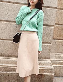 baratos Suéteres de Mulher-pullover de manga comprida para mulher - decote redondo em cor sólida