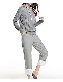 baratos Suéteres de Mulher-Mulheres Manga Longa Delgado Pulôver - Sólido / Com Capuz
