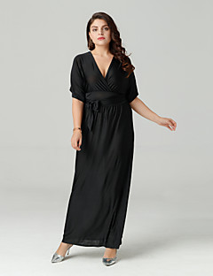 Χαμηλού Κόστους MORE BRANDS-Γυναικεία Βασικό Μπόχο Καφτάνι Φόρεμα - Μονόχρωμο Μακρύ