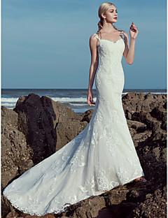 billiga A-linjeformade brudklänningar-A-linje Hjärtformad urringning Svepsläp Spets / Tyll Bröllopsklänningar tillverkade med Bård / Spets av LAN TING BRIDE® / Vacker i svart