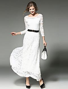 preiswerte Designerkollektionen-Damen Ausgehen Swing Kleid - Spitze, Solide Maxi Weiß