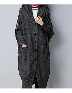 tanie Swetry damskie-Damskie Bawełna Głęboki dekolt w serek Luźna Długi Rozpinany Jendolity kolor Długi rękaw