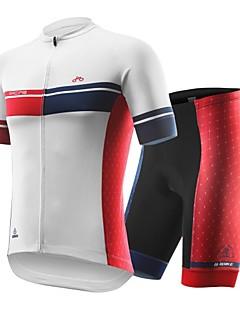 billige Sykkelklær-Kortermet Sykkeljersey med shorts - Hvit Sykkel Fort Tørring, Anatomisk design Spandex