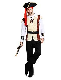 billige Halloweenkostymer-Pirates of the Caribbean / Pirat Drakter Herre Halloween / Karneval / Barnas Dag Festival / høytid Halloween-kostymer Beige Ensfarget / Halloween Halloween