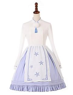 billiga Lolitamode-Söt Lolita Traditionell Snörning Dam Klänningar Festklädsel Maskerad Cosplay Vit Biskop Långärmad Midi Halloweenkostymer