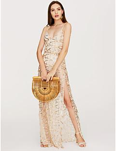 baratos Vestidos de Festa-Mulheres balanço Vestido Sólido Decote V Assimétrico / Delgado