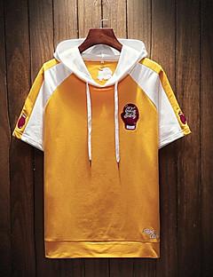 baratos Abrigos e Moletons Masculinos-hoodie de manga curta masculina - bloco de cor com capuz
