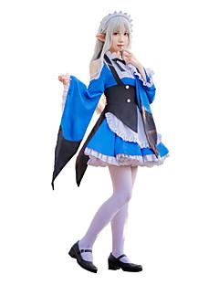 """billige Anime cosplay-Inspirert av Re: Zero - Start livet i en annen verden Emilia Anime  """"Cosplay-kostymer"""" Cosplay Klær Sløyfeknute Halsklut / Kjole / Krage Til Dame"""