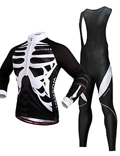 billige Sykkelklær-WOSAWE Sykkeljersey med bib-tights / Sykkeljersey med tights / Tights med seler til sykling - Svart Sykkel Tights Med Seler, 3D Pute, Refleksbånd Polyester / Elastisk