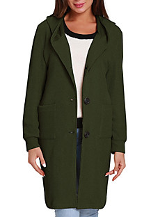 baratos Suéteres de Mulher-Mulheres Manga Longa Longo Carregam - Sólido / Com Capuz