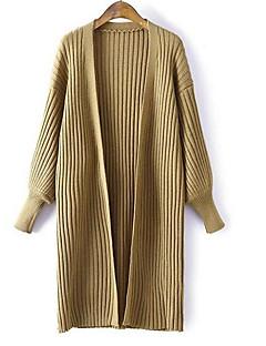 baratos Suéteres de Mulher-cardigan de algodão de manga comprida para mulher - decote redondo em cor sólida