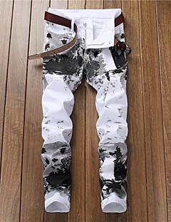 billige Herrebukser og -shorts-Herre Gatemote Bomull Tynn Chinos Bukser - Geometrisk Svart og hvit, Trykt mønster Hvit / Vår / Høst