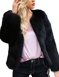 tanie AW 18 Trends-Kurtka Damskie Moda miejska Solidne kolory Sztuczne futro