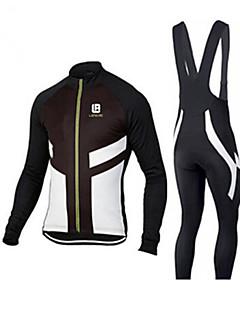 billige Sykkelklær-Herre Langermet Sykkeljersey med bib-tights - Svart / Hvit / Svart / Rød / Svart / Blå Sykkel Jersey Fleece, Lycra Helfarge