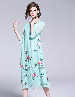 Χαμηλού Κόστους Βίντατζ Βασίλισσα-Γυναικεία Βίντατζ / Κινεζικό στυλ Swing Φόρεμα - Φλοράλ, Κεντητό Μίντι