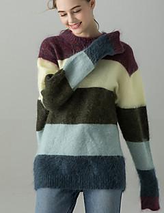 baratos Suéteres de Mulher-Mulheres Básico Manga Longa Solto Pulôver - Listrado / Gola Redonda / Outono