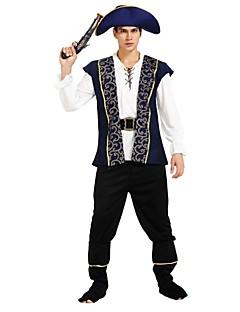 billige Halloweenkostymer-Pirates of the Caribbean Kostume Herre Halloween Karneval Maskerade Festival / høytid Halloween-kostymer Drakter Blæk Blå Ensfarget Halloween Halloween
