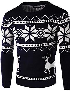tanie Męskie swetry i swetry rozpinane-Męskie Okrągły dekolt Pulower Geometryczny Długi rękaw