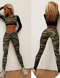 billige Trening, fitness og yoga-Dame Sexy Joggedress / Yoga Suit - Kamuflasje sport Kamuflasje Leggings / Topper Yoga & Danse Sko, Trening, Treningssenter Langermet Sportsklær Pustende, Komprimering, Butt Lift Elastisk