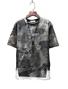 billige Herremote og klær-Bomull Rund hals Store størrelser T-skjorte Herre - Kamuflasje / Kortermet