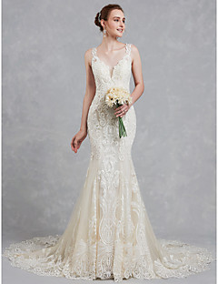 A Line V Neck Court Train Lace Tulle Made To Measure Wedding Dresses With Beading By Lan Ting Bride