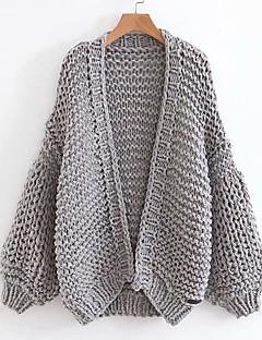 baratos Suéteres de Mulher-mulheres saindo de cardigan de manga longa slim - sólido colorido v profundo
