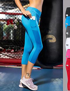 billige Løbetøj-FORSINING Dame Lomme Yoga bukser - Rød, Blå, Rosa Sport Net Leggins / 3/4 Capri bukser Løb, Fitness, Træning Plusstørrelser Sportstøj Åndbart, Hurtig Tørre, Power flex Høj Elasticitet Tynd