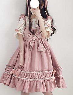 billiga Lolitamode-Söt Lolita Casual Lolita Klänning Söt Lolita söt stil Dam Klänningar Cosplay Svart / Röd / Rosa Kronblad Kortärmad Midi Halloweenkostymer
