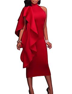 billige Kjoler til nyttårsaften-Dame Sexy Tynn Bukser - Ensfarget Rød Blå / Fest / Crew-hals / Ut på byen