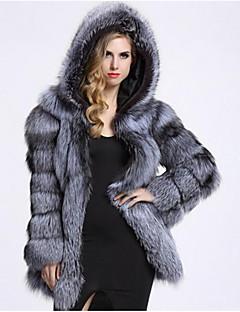 billiga Dampälsar och läder-Enfärgad Fur Coat Dam Fuskpäls